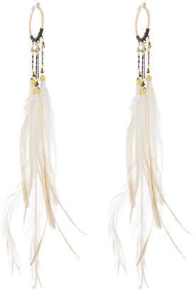 Nakamol Long Beaded Feather Hoop Earrings hOCz9a2