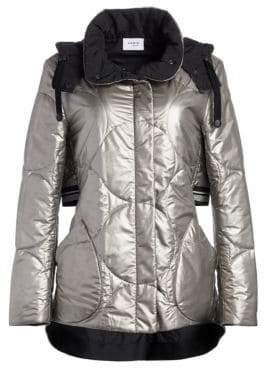 Akris Punto Metallic Nylon Puffer Coat