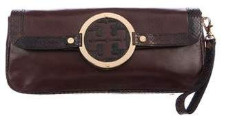 Tory Burch Embossed Leather-Trimmed Amanda Clutch