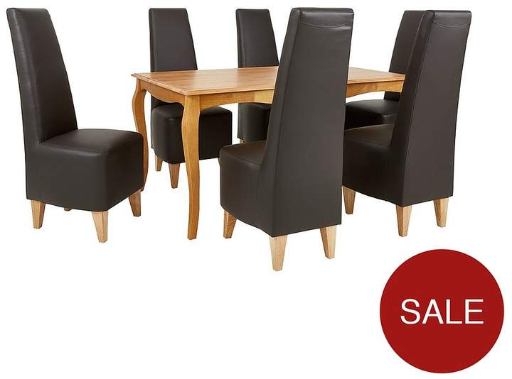 Alisha 150 Cm Solid Wood Dining Table + 6 New Manhattan Chairs
