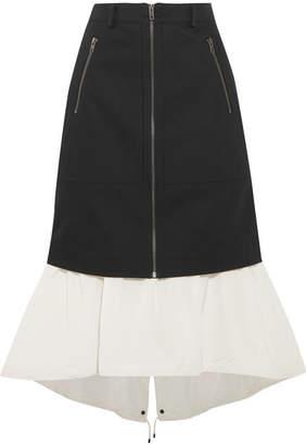 Kenzo Layered Denim And Shell Midi Skirt - Black