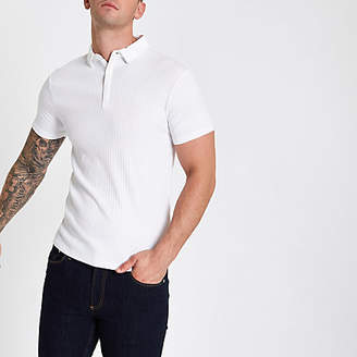 River Island White Essentials ribbed muscle fit polo shirt