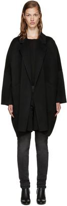 Helmut Lang Black Wool Oversize Coat $1,195 thestylecure.com