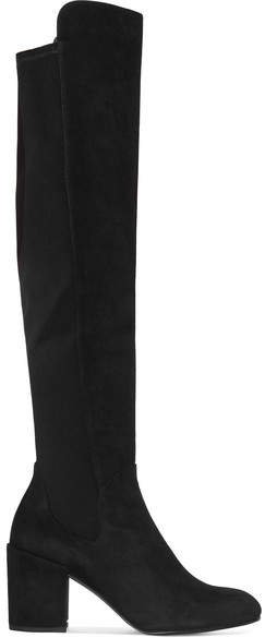 Stuart Weitzman - Halftime Suede And Stretch-crepe Over-the-knee Boots - Black