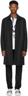 Harris Wharf London Grey Pressed Wool Mac Overcoat