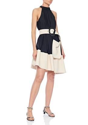 Tibi Sculpted Soft Drape Asymmetrical Bias Dress with Belt