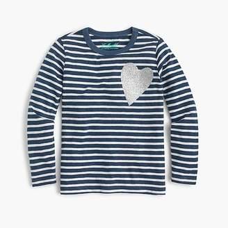 J.Crew Girls' striped long-sleeve heart T-shirt
