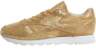 267a7d5a7586 Reebok Classics Womens CL Leather Shimmer Trainers Gold Chalk