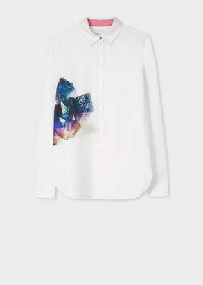 Paul Smith Women's Slim-Fit White Poplin Cotton Shirt With Large 'Precious Stones' Print
