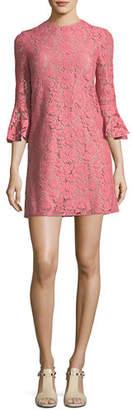 Valentino 3/4-Sleeve Heavy Lace Shift Dress