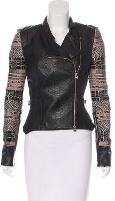 Herve Leger Leather Embellished Jacket