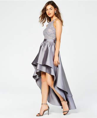 Emerald Sundae Juniors' Lace-Top Asymmetrical-Skirt Gown