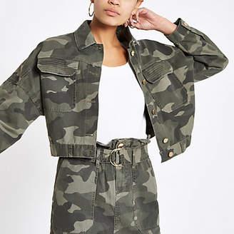 River Island Khaki camo oversized utility jacket