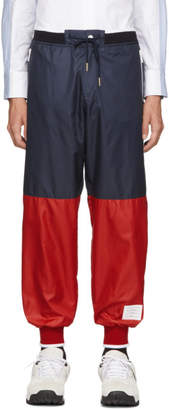 Thom Browne Navy and Red Ripstop Sweatpants