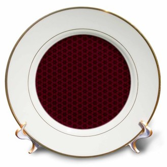 3dRose Deep burgundy and black tiny geometric flowers and stars pattern - Porcelain Plate, 8-inch