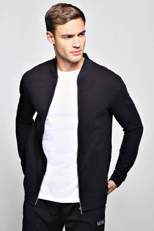 Pique Slim Fit Bomber Jacket