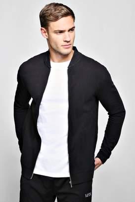 boohoo Pique Slim Fit Bomber Jacket