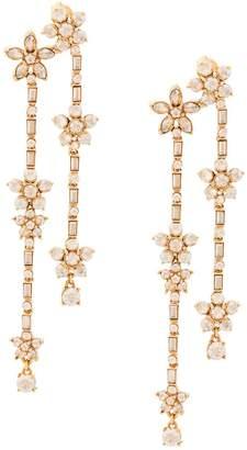Oscar de la Renta multi floral drop earrings