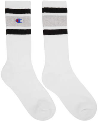 Champion Reverse Weave White and Grey Logo Socks
