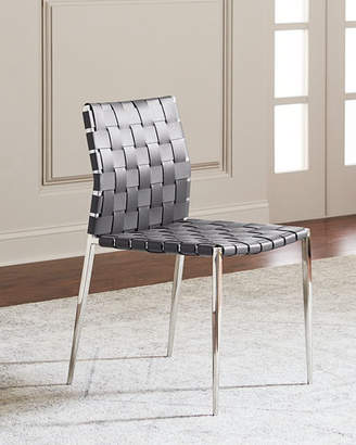 Interlude Home Kennedy Stainless Woven Leather Dining Chair, Gray