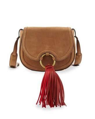 Tory Burch Tassel Mini Leather Saddle Bag, River Rock $475 thestylecure.com