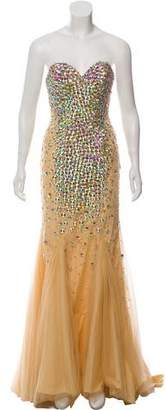 Terani Couture Strapless Embellished Gown