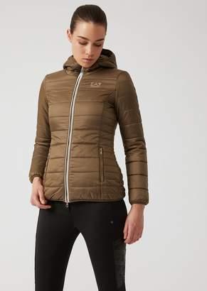 Emporio Armani Ea7 Padded Jacket With Hood In Shiny Nylon