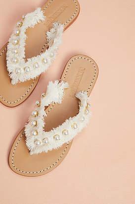 Mystique Pearled Fringe Thong Sandals