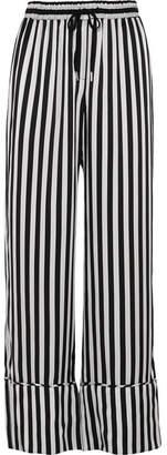 Lee Mathews Nicolas Striped Silk-satin Wide-leg Pants