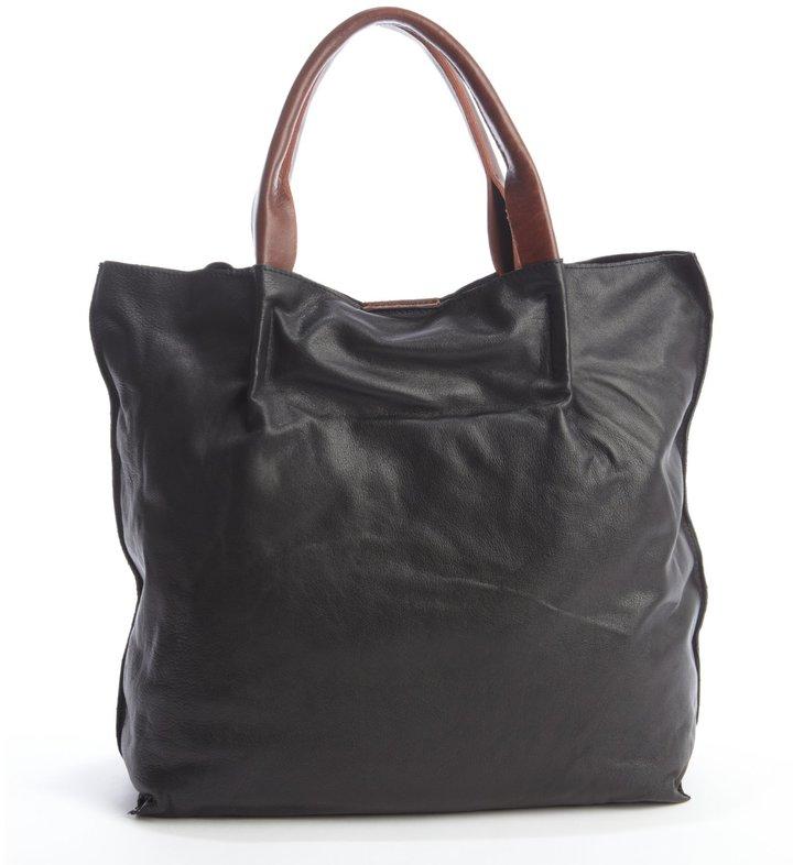 Sondra Roberts Black Leather Top Handle Shopper Tote