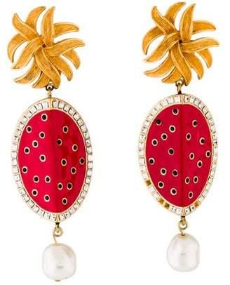 Dolce & Gabbana Watermelon Crystal & Faux Pearl Clip-On Earrings