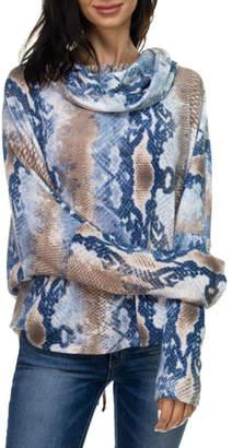 Ariella Usa Print Lace-Up Back Cowl Neck Top