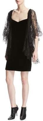 Roberto Cavalli Lace Flutter-Sleeve Velvet Cocktail Dress, Black