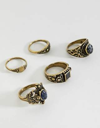 Asos EDITION chunky ornate ring pack with stones in burnished gold