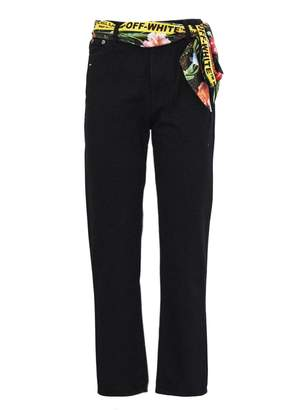Off-White Black Cotton Straight Leg Cropped Denim Pants.