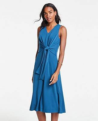 Ann Taylor Matte Jersey Sleeveless Tie Front Midi Dress