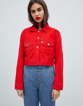 Levi's Cropped Cord Trucker Jacket in Red