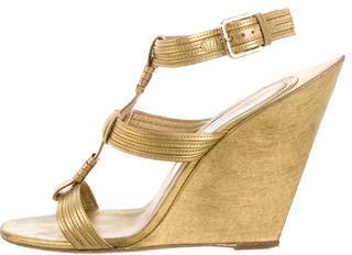 Saint LaurentYves Saint Laurent Metallic Wedge Sandals
