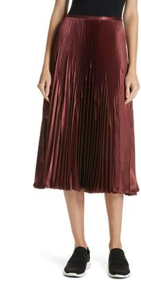 Vince Chevron Pleated Satin Skirt