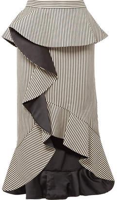 Alice + Olivia Alessandra Ruffled Striped Cotton-blend Midi Skirt