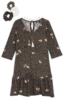 Trixxi Print Drop Waist Dress with Necklace & Scrunchies
