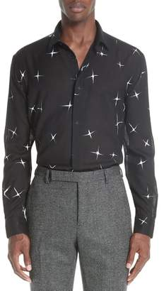 Saint Laurent Star Print Semi Sheer Wool Sport Shirt