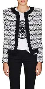 Balmain Women's Sequined Tweed Collarless Jacket - Black