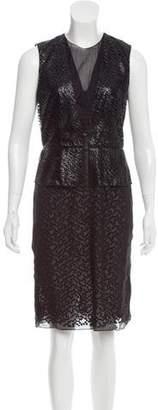 Reed Krakoff Leather-Trimmed Sheath Dress