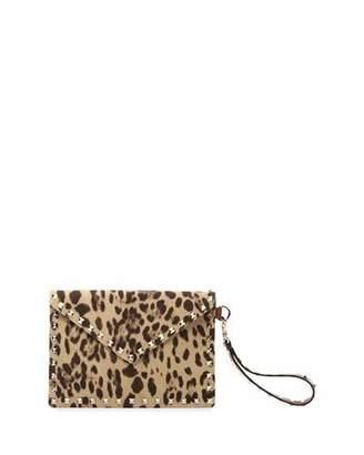 Valentino Garavani Rockstud Medium Leopard-Print Canvas Wallet/Pouch