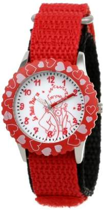 EWatchFactory Little Prince Kids' W000815 Stainless Steel Time Teacher Hearts Bezel Velcro Strap Watch