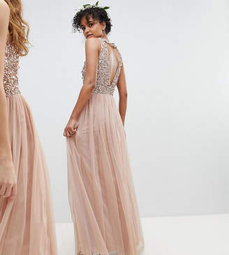 Maya Bridesmaid Sleeveless Sequin Bodice Tulle Detail Maxi Bridesmaid Dress With Cutout Back