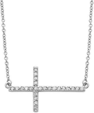 Sterling Silver 1/4-ct. T.W. Round-Cut Diamond Sideways Cross Pendant