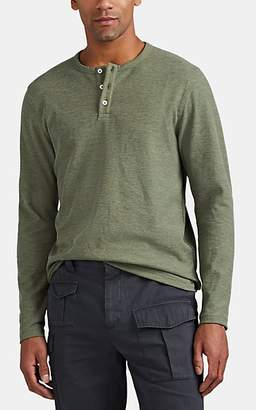 Barneys New York MEN'S WAFFLE-KNIT COTTON-BLEND LONG-SLEEVE HENLEY - OLIVE SIZE XS