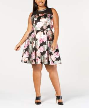 Love Squared Trendy Plus Size Mesh-Yoke A-Line Dress